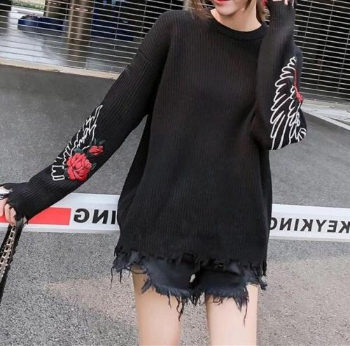 Fashion Pullover Loose Embroidered Sweater