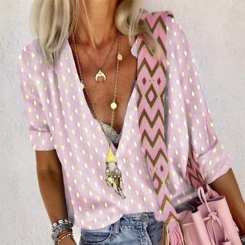Daily Printed Color V Neck Long Sleeve T-Shirt