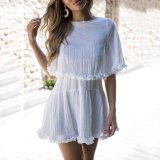 White Short Sleeves Holiday Beach Mini Dress