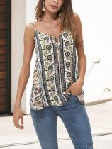 Casual Sexy Deep V   Neck Vintage Style Printing Sling Vest