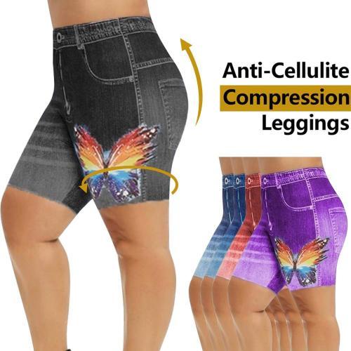 Women High Waist Denim Shorts Summer 3D Print Fashion Jeans Plus Size Shorts Femme Skinny Shorts Fitness Running Yoga Shorts