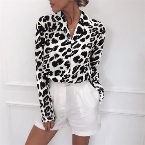 Fashion Leopard Print Long Sleeve Chiffon Shirt