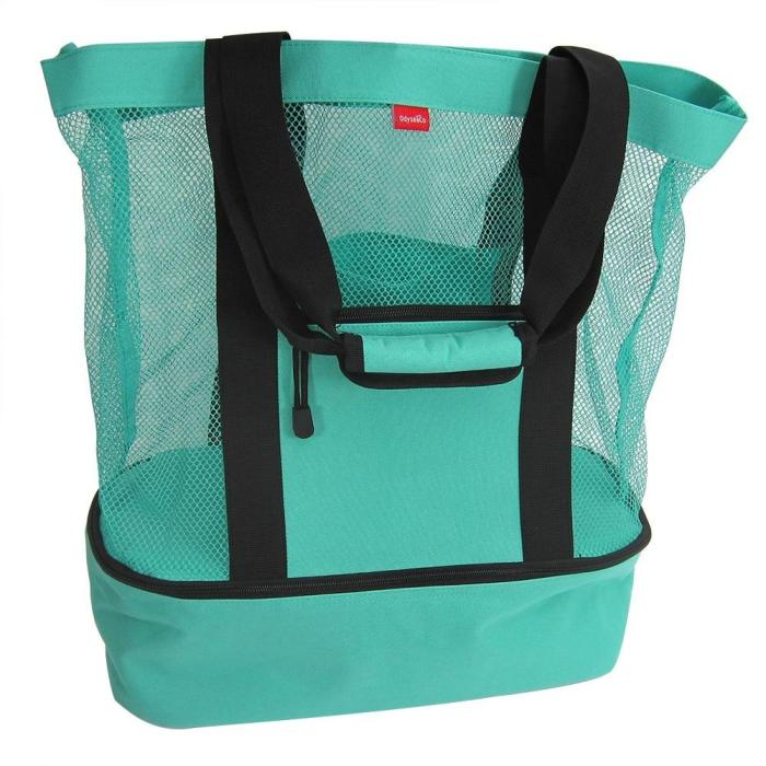 Outdoor Green Ice Pack Picnic Insulation Fresh Pack Beach Bag With Zipper Top And Insulated Picnic Cooler