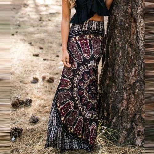 Retro Printed Flared Maxi Vacation Skirt