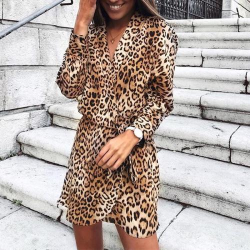 V Neck Long Sleeve Leopard Printed Belt Casual Dress
