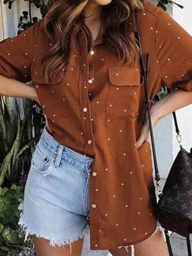 Female European And American Dot Print Lapel Short-Sleeved Shirt