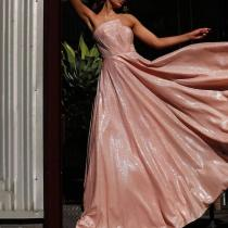Irregular Tube Top Evening Dress
