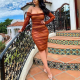 Solid Off Shoulder Sexy Long Sleeve Party Dress