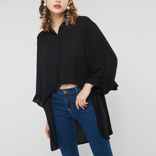 Fashionable Solid Color Chiffon Seven-Quarter Sleeves Shirt