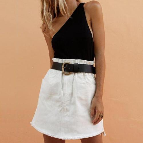 Contrast Stitching Open Back Dress