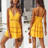 Stylish Yellow Sleeveless Vacation Mini Dress