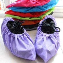 1 Pair Thicken Reusable Elastic Shoe Cover Home Indoor Antiskid Overshoes Student Non-woven Solid Color Dust Proof Feet Cover