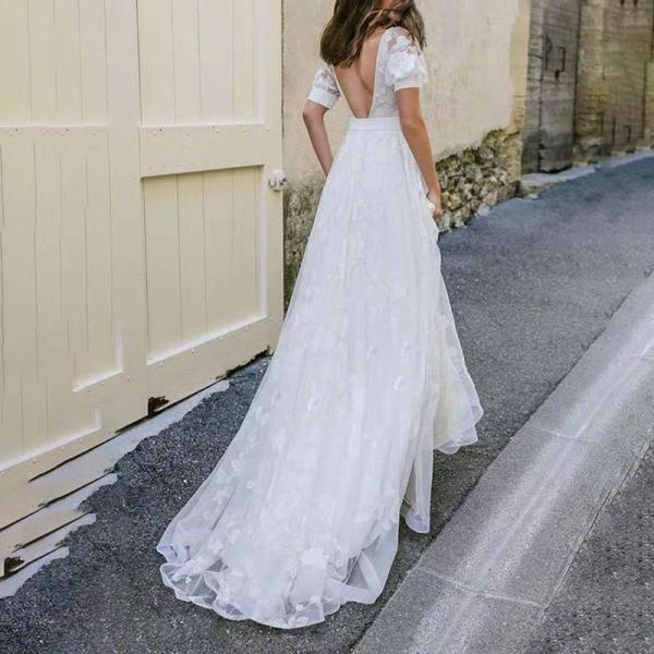 Fashion V-neck Halter Lace Dress