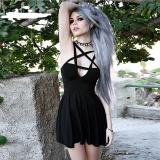 EBUYTIDE Pentagram Strap Gothic Dress Women Punk Grunge Slim Sexy Pareos 2020 A-Line Dark Sleeveless Summer Dresses Hot Sale
