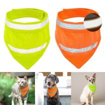 Reflective Dog Bandana Breathable Pet Scarf Collar Cats Dogs Accessories for Small Medium Pet Chihuahua Yellow Orange S M L