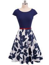 EBUYTIDE Women Cap Sleeve Swing Party Dress