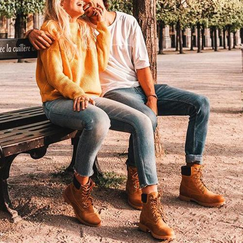 Fashion solid color plus velvet couple Martin boots