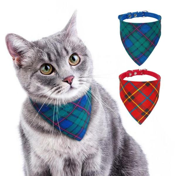 Gatos Acessorios Cat Dog Accessories Small Dogs Bandana Bib Collar Gift for Small Dogs Cats Puppy Chihuahua Bandage Plaid
