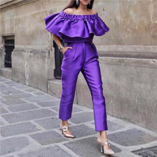 Fashion One Word Collar Lotus Edge Two Piece Suit