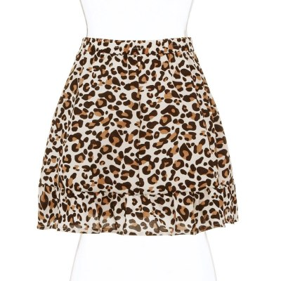 Fashion Women Leopard Print Midder Elastic Waist Ruffles Casual Mini Skirt Clothing Female Jupe Femme Womens Summer Skirt