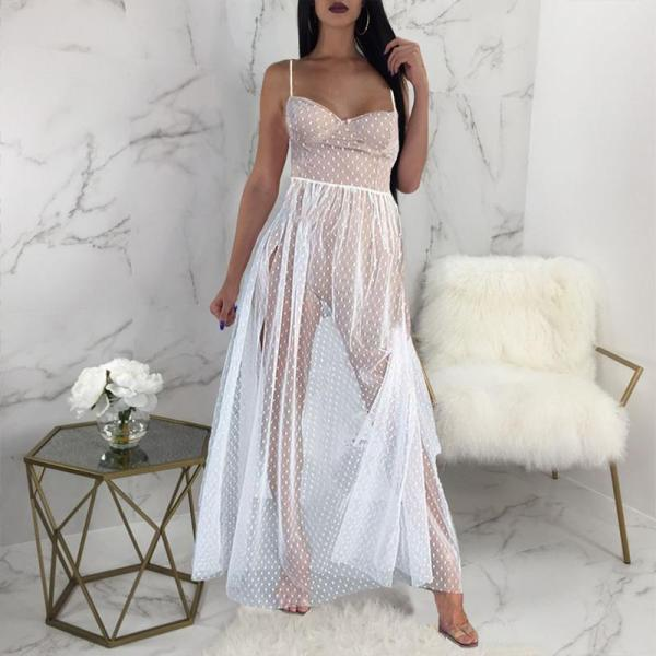 Sexy Slip Polka Dot Evening Dress