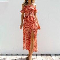 Summer Off Shoulder Floral Printed Belted Jumpsuit