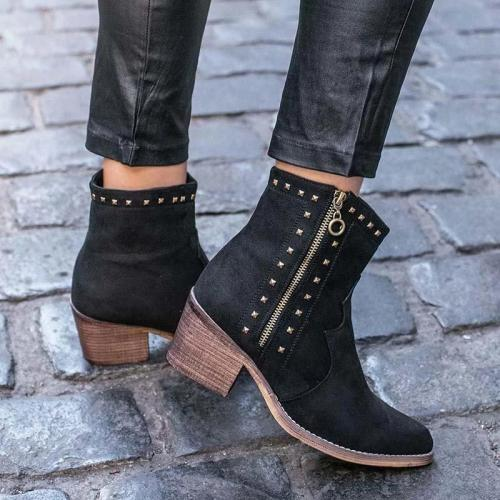 Vintage Rivet Ankle Boots Side Zipper Chunky Heel Boots