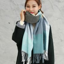 2020 Autumn Winter Female Wool Plaid Scarf Women Cashmere Scarves Wide Lattices Long Shawl Wrap Blanket Warm Tippet