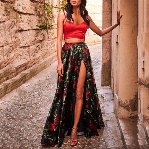 Women Sexy Printed Colour Sling Two Piece High Waist Vacation Maxi Dress