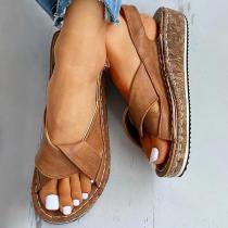 Pairmore Women Hollow-out Open Toe Velcro Wedge Heel Sandals