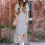 Striped Short Sleeve Round Neck Maxi Dress