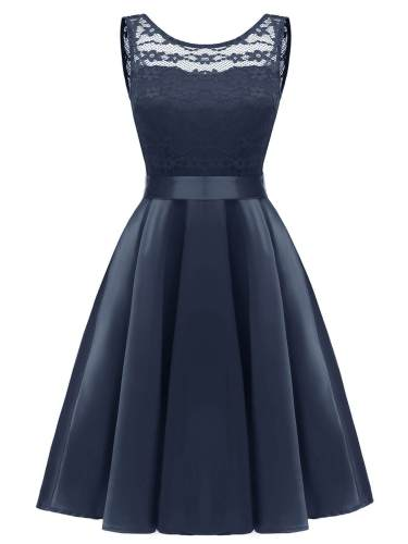 1950s Patchwork Belted Swing Dress