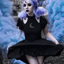 Women Dress 2019 Womens Fashion Gothic Style Punk Black Retro Off Shoulder Moon Hollow Out Dress Party Dress Vestidos Plus Size