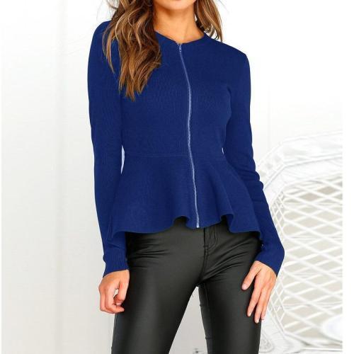 Round Collar Long Sleeve Zipper Trim Short Coat