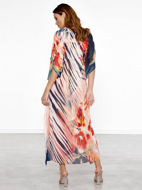 Loose Print Floral Midi Dresses