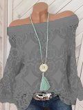 Open Shoulder  Patchwork  Lace Blouses