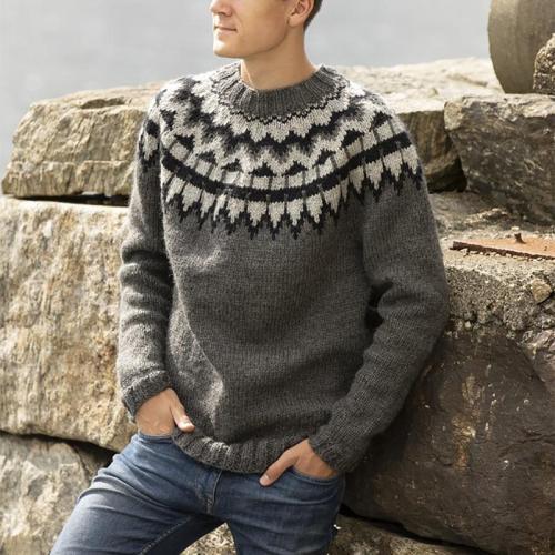 Mens Casual Round Neckline Striped Sweater TT004