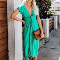 Sexy V Neck Pleated Slit Short Sleeve Dress