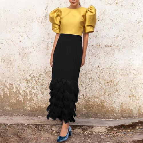Fashion Solid Color Bubble Sleeve Patchwork Skirt Two Piece Set