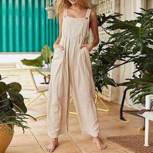 EBUYTIDE Casual Solid Color Spaghetti Straps Jumpuit