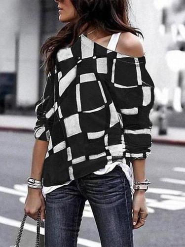 Fashion Sloping Shoulder Check Loose Long Sleeve T-Shirt