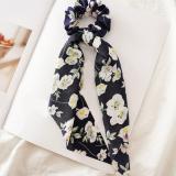 DIY Solid/Floral Print Bow Satin Long Ribbon Ponytail Scarf Hair Tie Scrunchies Women Girls Elastic Hair Bands Hair Accessories