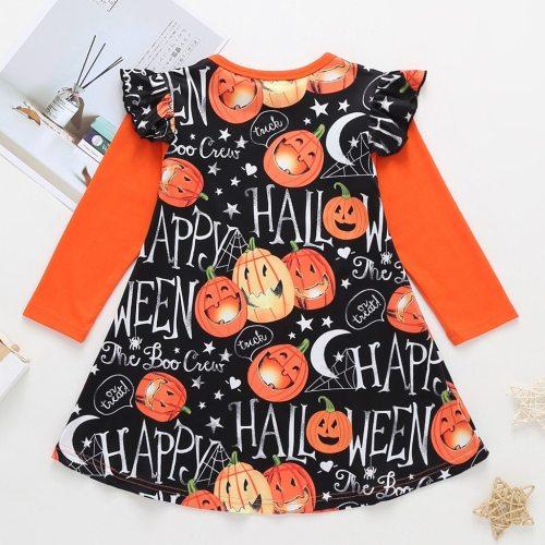 girls Dress Baby Kids Dresses for Girls Clothes Long Sleeve Cartoon Halloween Print Princess Dress Costume Vestidos Robe Fille