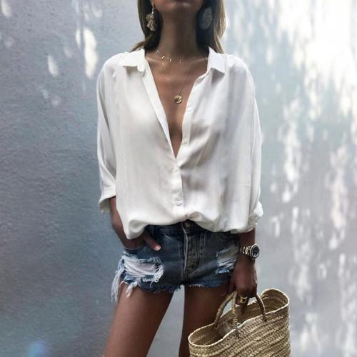 Commuting V Neck Single-Breasted Chiffon Long Sleeve Blouse