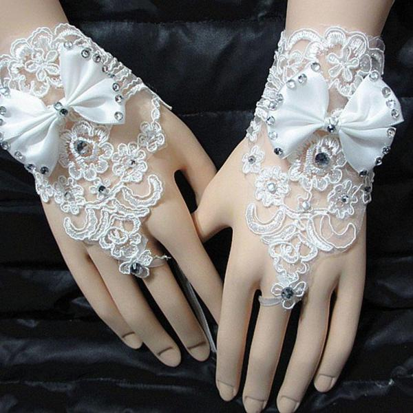 1 Pair of gloves wedding gown accessories fingerless gloves inlaid rhinestone bowknot for bridal lace gloves