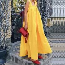 Bohemian Solid Color Sleeveless Hanging Bandwidth Loose Maxi Dress
