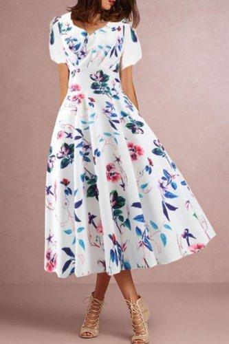 Sweet Heart  Floral Printed Skater Dress
