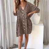 V-Neck Pocket Print Dress