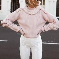 Casual Half High Collar Twist Knit Sweater