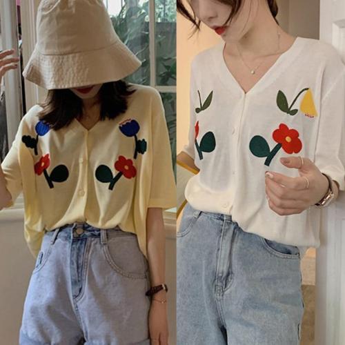 Summer Knitted Cardigan Button Up Korean Cropped Cardigan Sweaters Women Crop Sweater Knitting Top Streetwear